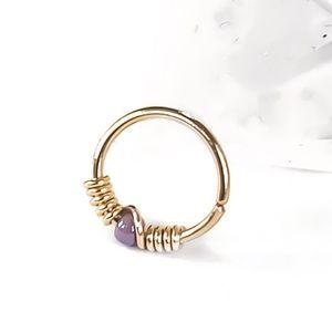 Purple Beaded Cartilage Hoop Earring Nose Ring